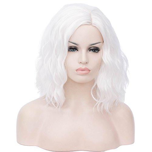 BERON 14 Women Girls Short Curly Bob Wavy Wig Body Wave Halloween Cosplay Daily Party Wigs (White)