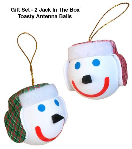 Quantity 2 pcs pack - Jack in the Box - TOASTY Winter Hat Car Antenna Toppers / Antenna Balls TTJackToastySet