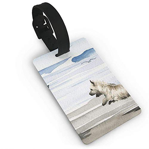 Koperororo Luggage Tag Cairn Terrier Business ID Card Holder with Adjustable Strap for Baggage Bag/Suitcases Business Card Holder Name ID Labels 3.7X2.2in PVC Size 2.2'' X 3.7'' ()