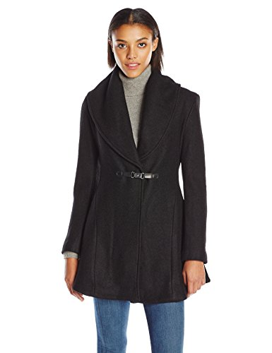 kensie Women's Boiled Wool Skirted Coat with Shawl Collar, Black, XL