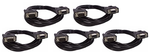 Five Pack Of YCS Basics Black 6 Foot DB9 9 Pin Serial / RS232 Male / Female Extension Cables ()