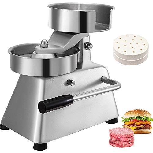VBENLEM Commercial Hamburger Patty Maker 100mm/4inch Stainless Steel Burger Press Heavy Duty Beef Meat Forming Processor with 1000Pcs Papers, Sliver