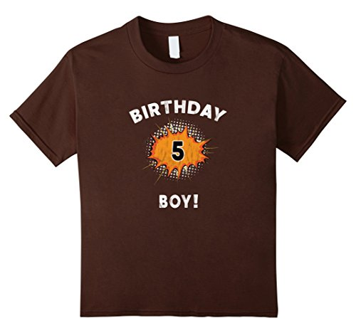 Kids Birthday Boy 5 Year Old Action Hero Comic Super Retro Shirt 12 Brown (Comic Retro Old Shirt)
