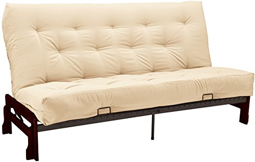(Bristol Futon Sofa Sleeper Bed, Queen, Mahogany Frame/Ivory Mattress)