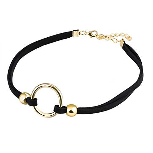 PAMTIER Womens Black Velvet Circle Round Chrams Pendant Ribbon Gothic Collar Choker Necklace with Beads Gold ()