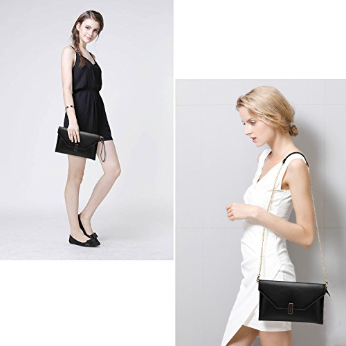 Bag Shoulder Slim Evening Crossbody Women Bag Genuine Envelope Utotebag Party Wrist Purse Black Bag Leather Clutch a41Wq6xqpw