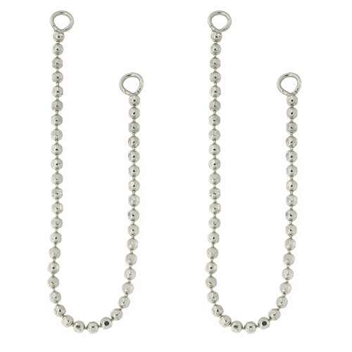 14k White Gold Earring Jacket - Automic Gold Solid 14k White Gold Bead Chain Earring Jacket Extender