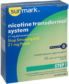- Sunmark Nicotine Transdermal System Step 1-21 mg Patches - 14 ct