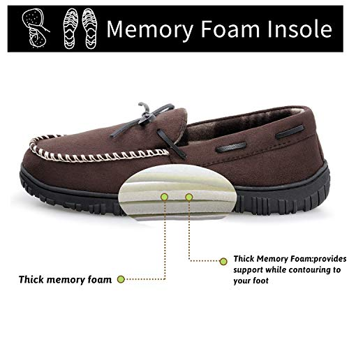 MIXIN Moccasin Slippers for Men, Cozy Mens Slippers House Shoes with Memory Foam Indoor Outdoor