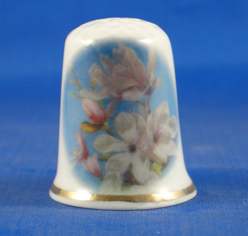 Porcelain China Collectable Thimble - Magnolia Floral with Free Gift Box (Porcelain Magnolia)