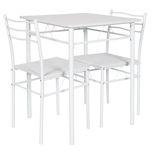 ts-ideen 3er Set Essgruppe Tisch Stühle Esstisch Küchentisch Alugestell Weiß Tisch 60 x 60 cm für die Küche Esszimmer Studentenwohnung