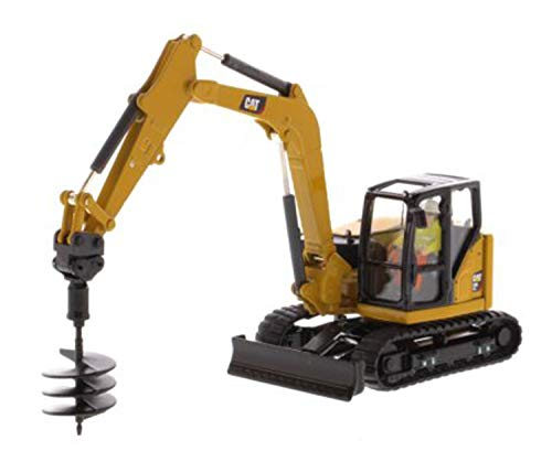 Diecast Masters CAT Caterpillar 308 CR Next Generation Mini Hydraulic Excavator with Work Tools and Operator High Line Series 1/50 Model 85596 ()