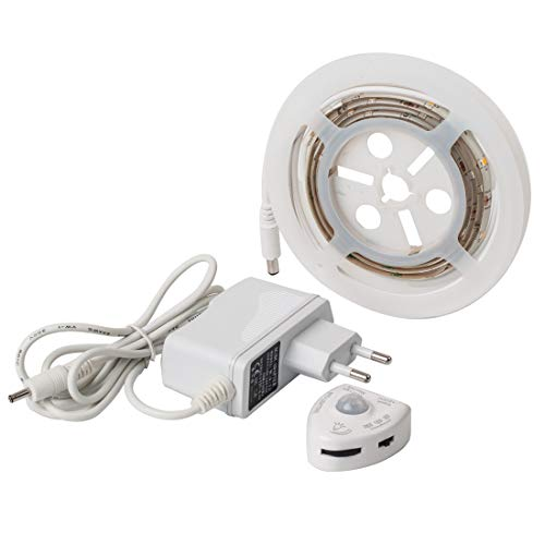 BTF-LIGHTING Under Bed Light, Dimmable Motion Activated Bed Light 5ft LED Strip with Motion Sensor and Power Adapter, Bedroom Night Light Amber for Baby, Crib, Bedside, Stairs, Cabinet and Bathroom