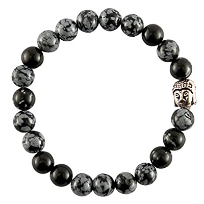 Aatm Reiki Energized Gift Natural Gemstone 7-8mm Round Beads Buddha Beaded Snowflake Obsidian Gemstone Stretch Bracelet Unisex for Healing (stone of purity & balancing)