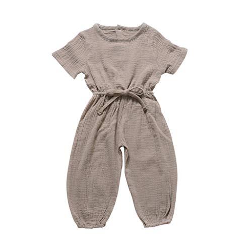 Huaze Gift Toddler Baby Kids Girls Boys Cotton Linen Stripe Romper Comfortable Strap Sleeveless Solid Romper Sunsuit Clothes (Gray, 18-24M) (22 Paintball Barrel)