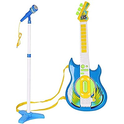 LilPals' Karaoke Microphone Guitar Musical Prodigy Set - Featuring an Amazing Guitar and Stage Microphone Set with 2 Play Modes. Your Future Rock Star Will be Thrilled to Show Off Their Talent (Blue): Toys & Games