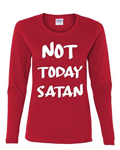 Not Today Satan Women's Long Sleeve Tee Religious Funny Jesus Religion Red 2XL