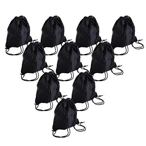 Bonaweite Drawstring Bag Canvas Nylon Sport Storage Portable Training (Black 10 pack) ()
