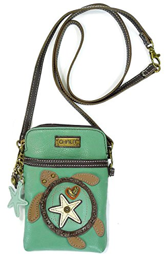 Chala Crossbody Cell Phone Purse - Women PU Leather Multicolor Handbag with Adjustable Strap - Turtle - Teal