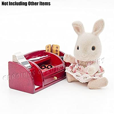 Odoria 1:12 Miniature Office Desk Stationery Multi-function Organizer Wood Red Dollhouse Furniture Accessories: Toys & Games