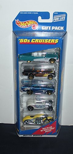 1998 - Mattel - Hot Wheels - '50s Cruisers - Gift Pack - Eldorado / T-Bird / 57 Chevy / Hot Rod / Motorcycle - OOP - Rare - Collectible Set