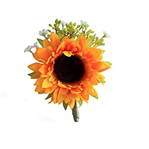 S_SSOY Groom Wedding Flower Boutonniere Simulation Sunflower Bridegroom Groom Men's Groomsmen Best Man Boutineer Corsage for Prom Homecoming Party Pack of 1 53