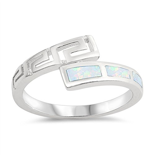 White Simulated Opal Greek Key Filigree Midi Ring .925 Sterling Silver Band Size - Key Jewelry Greek