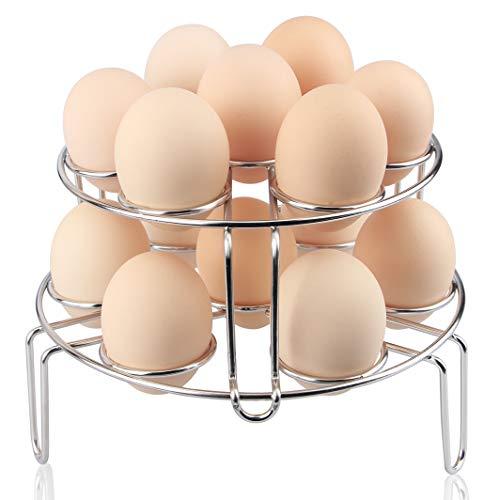 Aiduy - Salvamanteles con asas para macetas de acero inoxidable (metal, mango largo, fácil de quitar), Plateado, Egg Steamer...