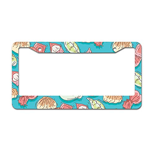 (DKISEE Abstract Dumpling Pattern Colorful License Plate Frame Aluminum Car Licence Plate Covers with 2 Holes 12