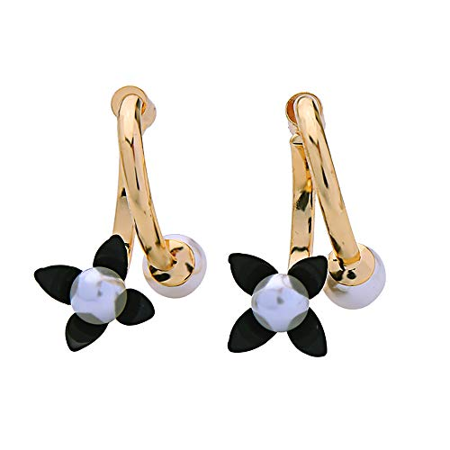 s925 Sterling Silver Stud Earrings Vintage Pearl Flower Hoop Earrings For Women Girl Jewelry Gift