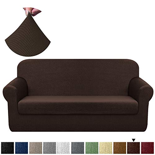 Chelzen Stretch Sofa Covers Living Room 2-Piece Extra Large Couch Covers Striped Furniture Protectors Spandex Fabric Dog Sofa Slipcovers (XL Sofa, Dark Coffee) (Best Sofa Fabric For Dogs)