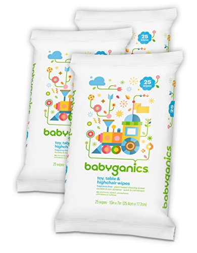 Babyganics Toy, Table & Highchair Wipes, Fragrance Free, 25 Count (Pack of 3)