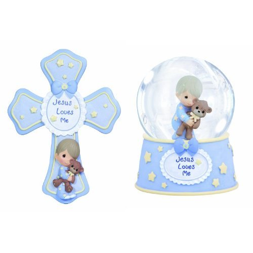 Precious Moments, Religious Gifts, Jesus Loves Me Resin Photo Frame and Musical Water Globe for Boy