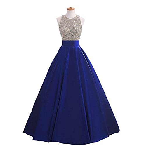 HEIMO Womens Sequins Keyhole Back Evening Ball Gown Beaded Prom Formal Dresses Long H095 2 Royal Blue