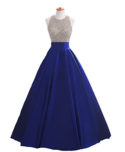 (HEIMO Women's Sequins Keyhole Back Evening Ball Gown Beaded Prom Formal Dresses Long H095 6 Royal Blue)