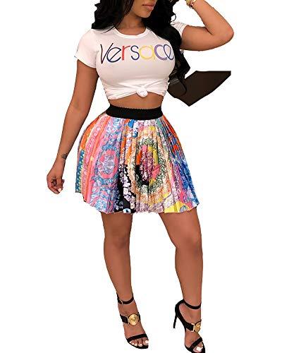 Skirt Avocado - Halfword Women's Cute Dinosaur Sloth Panda Avocado Print Flared Mini Skirt