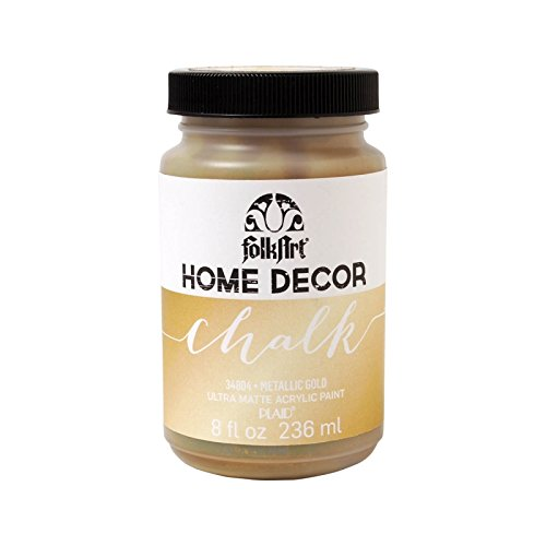 FolkArt Home Decor Chalk Furniture & Craft Paint in Assorted Colors (8 Ounce), 34804 Metallic Chalk - Motif Wood Cabinet