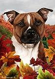 """Pitbull Dog – Tamara Burnett Fall Leaves Garden Dog Breed Flag 12"""" x 17"""" For Sale"""