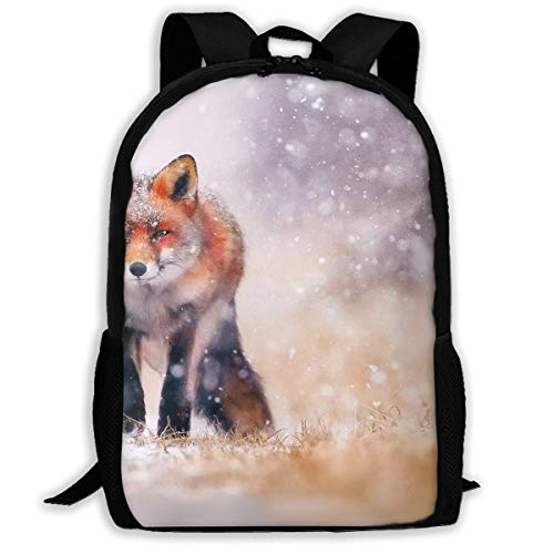 Backpack Briefcase Laptop Travel Hiking School Bags Winter Snow Fox Stylish Daypacks Shoulder Bag