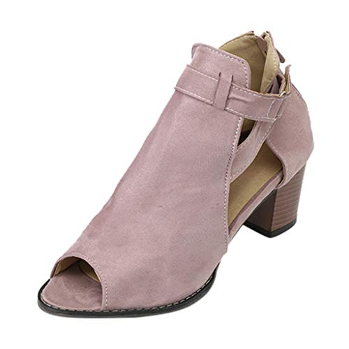 Women Buckle Single Shoes, lkoezi Lady Solid Color Square Peep Toe Pumps Fish Mouth Hollow Out Roma Shoes Fashion Sandals