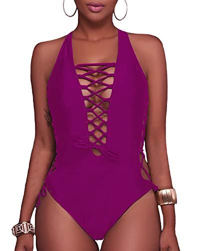 (Holipick Women 1 Piece Sexy Lace up Racerback Monokini Plunge Deep V Neck High Leg Cutout Swimsuit Swimwear (XL(US 16), Rose Purple))