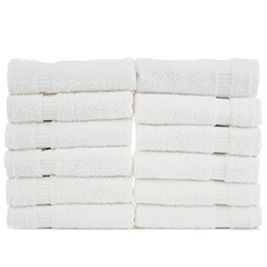 Luxury Hotel & Spa Towel 100% Genuine Turkish Cotton (White, Wash Cloth  - Set of 12)