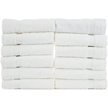 Chakir Turkish Linens Turkish Cotton Luxury Hotel & Spa Bath Towel, Wash Cloth - Set of 12, White