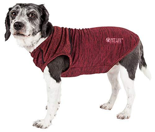 - Pet Life Active 'Aero-Pawlse' Heathered Quick-Dry and 4-Way Stretch-Performance Dog Tank Top T-Shirt, Medium, Red