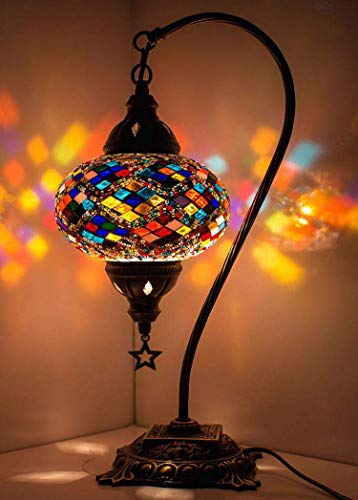 New BOSPHORUS Stunning Handmade Swan Neck Turkish Moroccan Mosaic Glass Table Desk Bedside Lamp Light with Bronze Base (Multicolor)