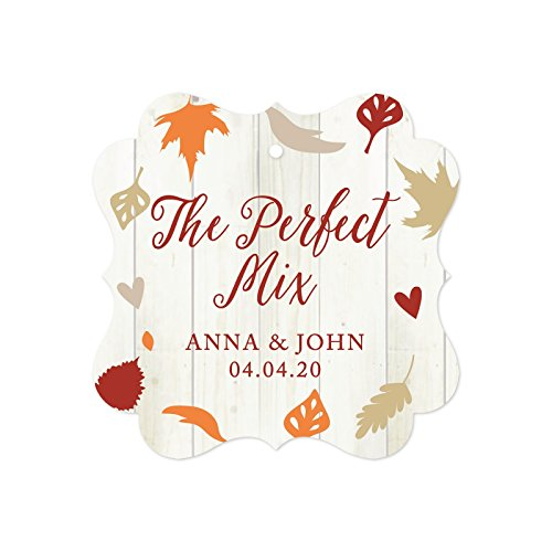 Andaz Press Fallin' in Love Autumn Fall Leaves Wedding Party Collection, Personalized Fancy Frame Gift Tags for Hot Chocolate Favors, The Perfect Mix, Anna & John, 04.04.20, 24-Pack, Custom Name (Hot Wedding Favors Cocoa)