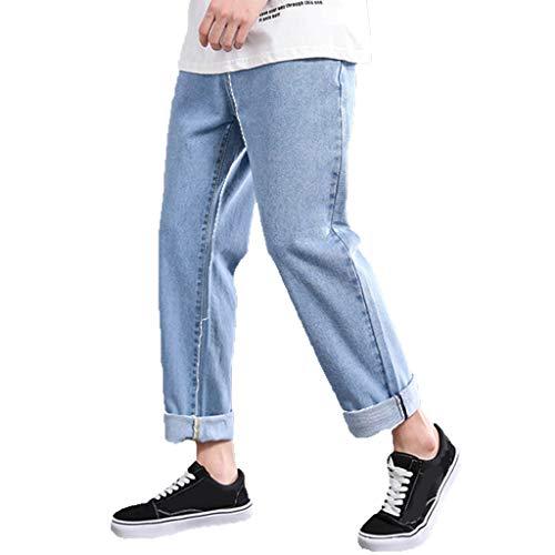 Jean Comfort-Fit Summer Fashion Casual Jeans Comfortable Plain Straight Pant Men's (30,Light Blue)