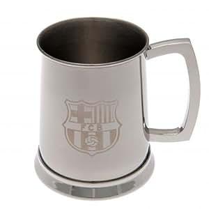 F.C. Barcelona acero inoxidable tankard- tankard- de acero inoxidable 12cm x 12cm x 8,5cm) en una caja de regalo mercancía de fútbol oficial