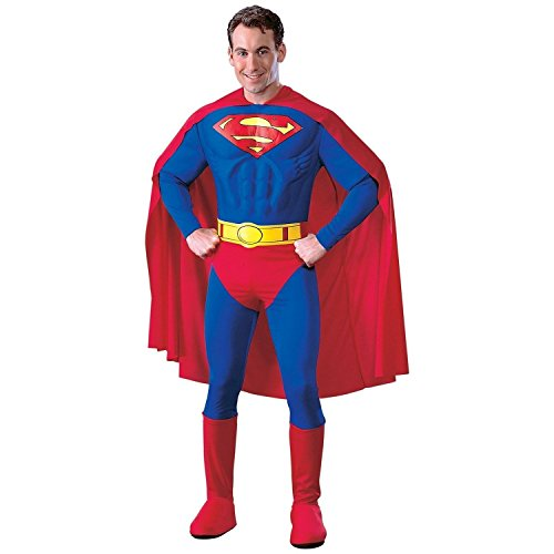 Superman Halloween Costume For Men - DC Comics Deluxe Muscle Chest Superman Costume, As Shown, Medium