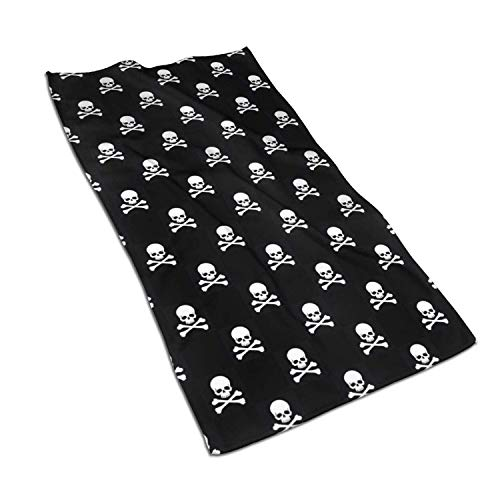 Face Hand Towels Skull Crossbones Black Highly Absorbent Microfiber Towel Quick Dry 27.5″ X 15.7″